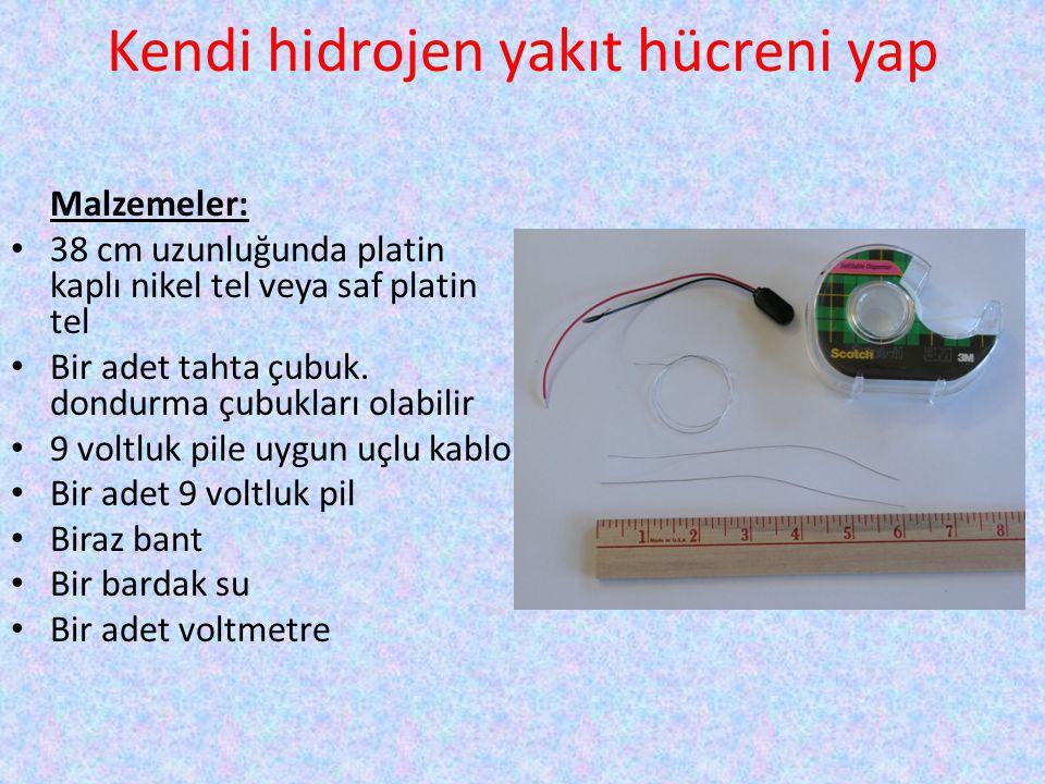 Kendi hidrojen yakıt hücreni yap Malzemeler: • 38 cm uzunluğunda platin kaplı nikel tel veya saf platin tel • Bir adet tahta çubuk. dondurma çubukları