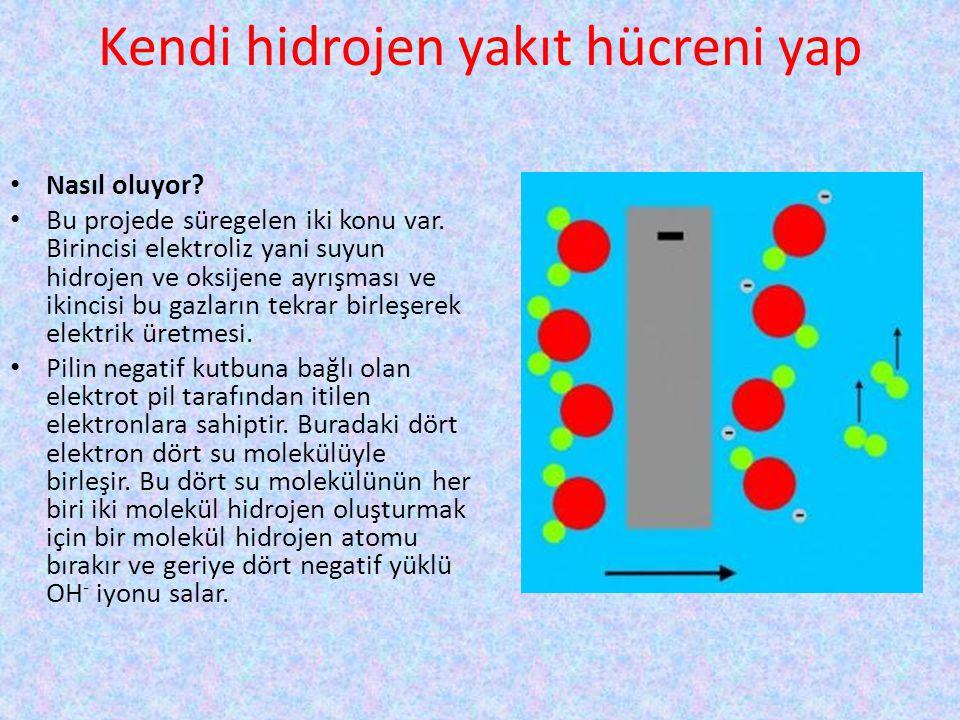 Kendi hidrojen yakıt hücreni yap • Nasıl oluyor? • Bu projede süregelen iki konu var. Birincisi elektroliz yani suyun hidrojen ve oksijene ayrışması v