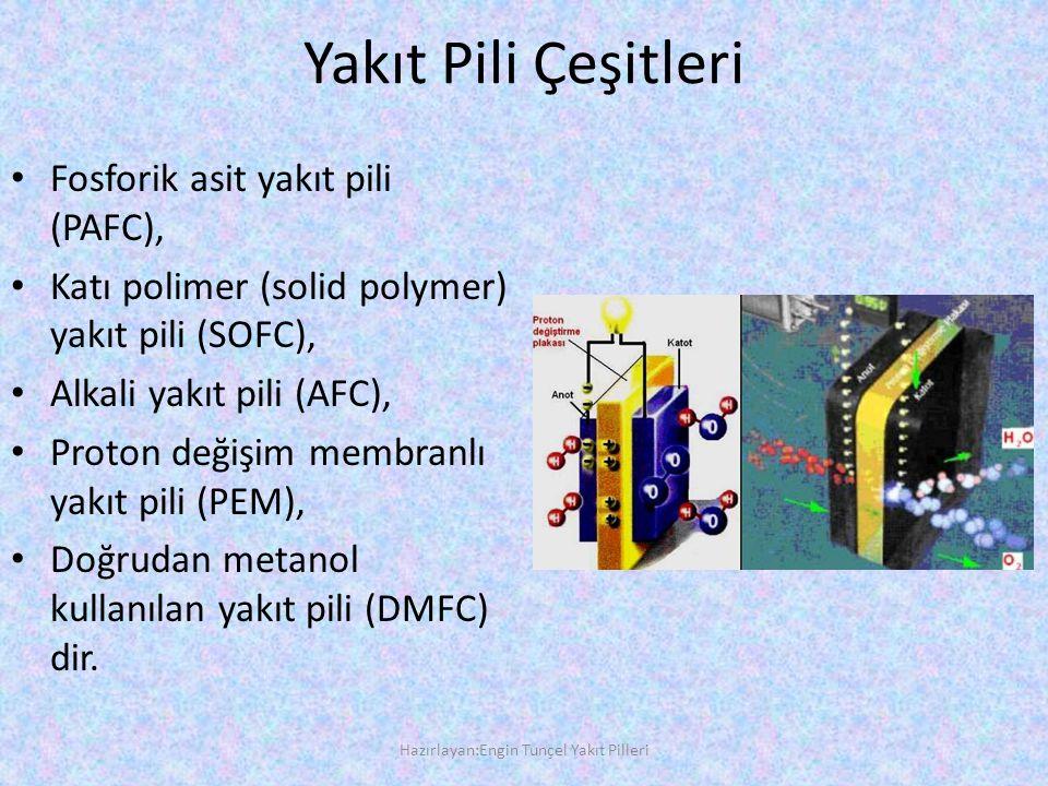 Yakıt Pili Çeşitleri • Fosforik asit yakıt pili (PAFC), • Katı polimer (solid polymer) yakıt pili (SOFC), • Alkali yakıt pili (AFC), • Proton değişim membranlı yakıt pili (PEM), • Doğrudan metanol kullanılan yakıt pili (DMFC) dir.