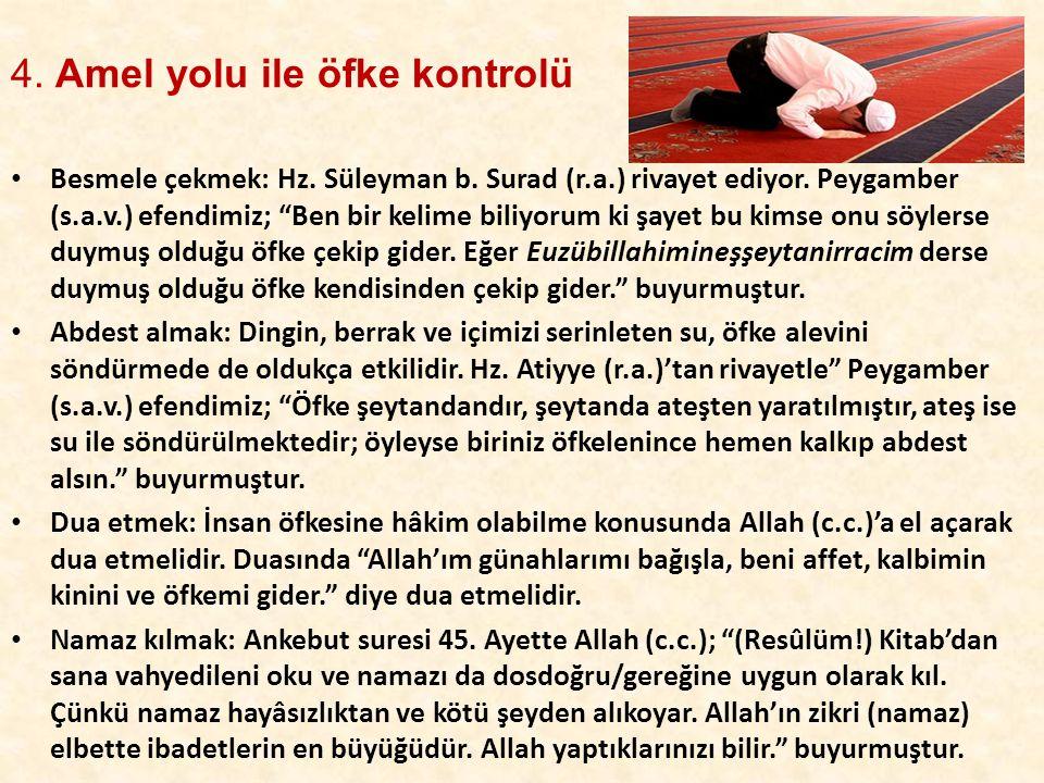 """4. Amel yolu ile öfke kontrolü • Besmele çekmek: Hz. Süleyman b. Surad (r.a.) rivayet ediyor. Peygamber (s.a.v.) efendimiz; """"Ben bir kelime biliyorum"""