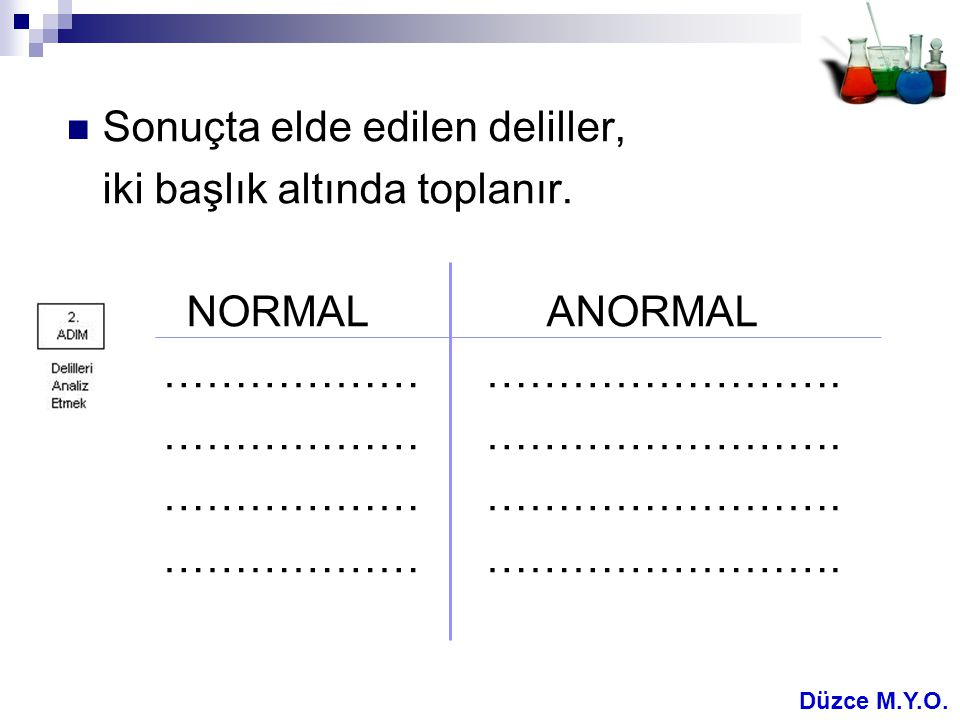  Sonuçta elde edilen deliller, iki başlık altında toplanır. NORMALANORMAL ……………… ……………………. Düzce M.Y.O.