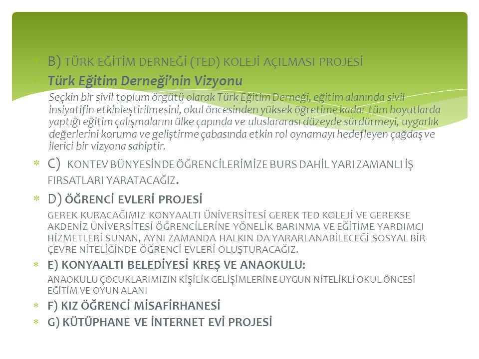  B) TÜRK EĞİTİM DERNEĞİ (TED) KOLEJİ AÇILMASI PROJESİ  Türk Eğitim Derneği'nin Vizyonu Seçkin bir sivil toplum örgütü olarak Türk Eğitim Derneği, eğ