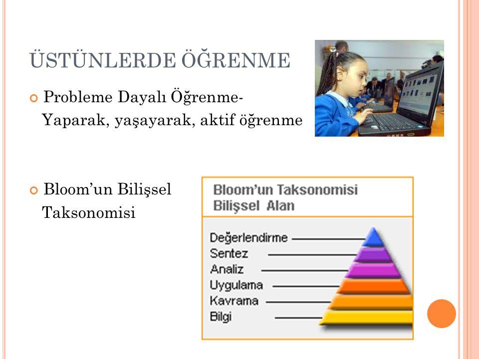 ÜSTÜNLERDE ÖĞRENME Probleme Dayalı Öğrenme- Yaparak, yaşayarak, aktif öğrenme Bloom'un Bilişsel Taksonomisi