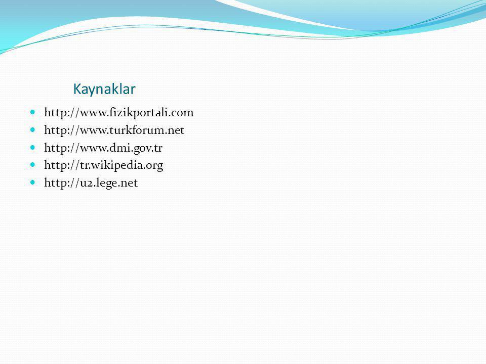 Kaynaklar  http://www.fizikportali.com  http://www.turkforum.net  http://www.dmi.gov.tr  http://tr.wikipedia.org  http://u2.lege.net