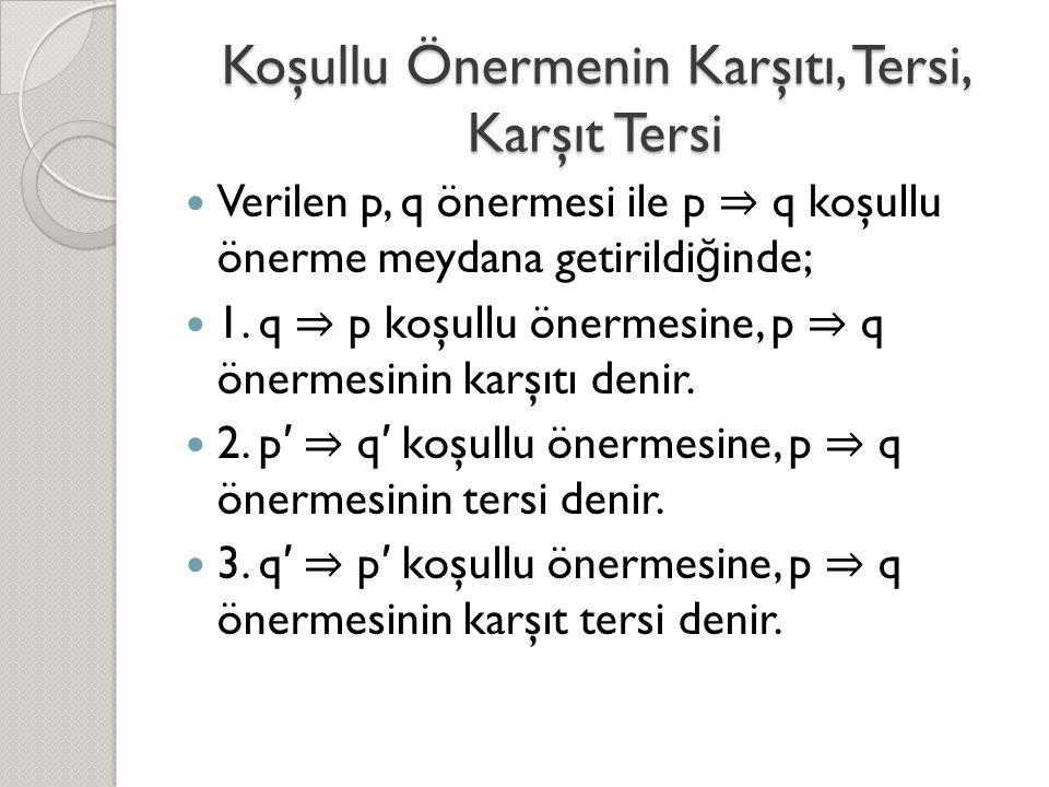 Koşullu Önermenin Karşıtı, Tersi, Karşıt Tersi  Verilen p, q önermesi ile p ⇒ q koşullu önerme meydana getirildi ğ inde;  1.