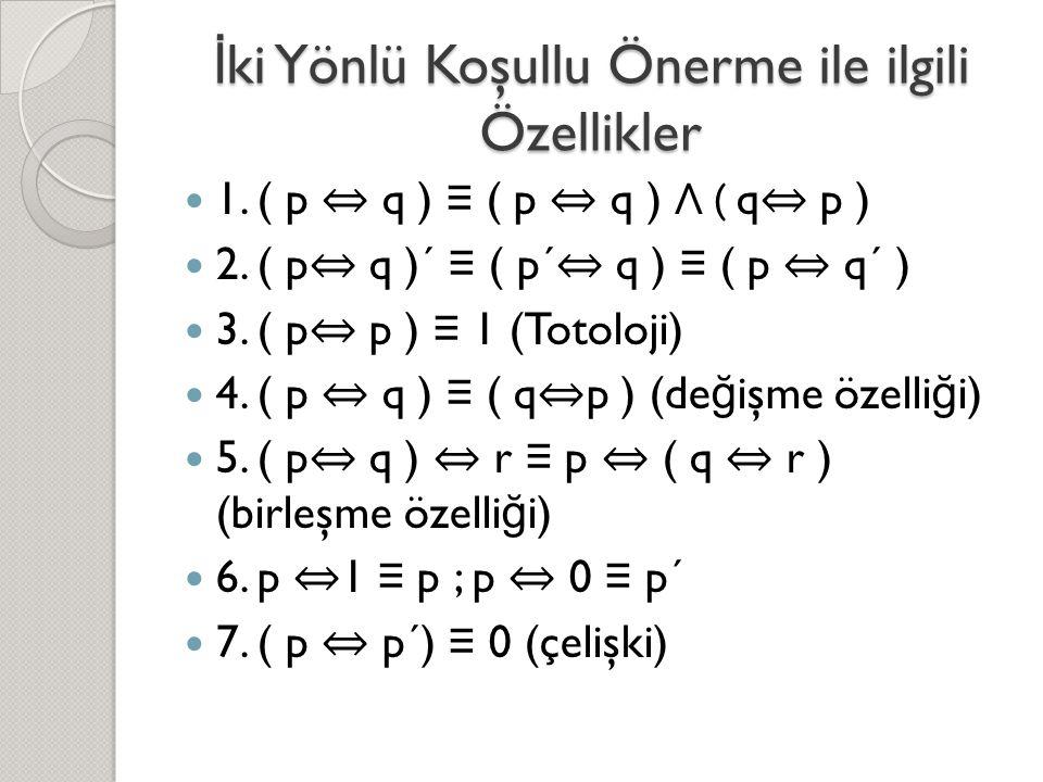 İ ki Yönlü Koşullu Önerme ile ilgili Özellikler  1. ( p ⇔ q ) ≡ ( p ⇔ q ) Λ ( q ⇔ p )  2. ( p ⇔ q )´ ≡ ( p´ ⇔ q ) ≡ ( p ⇔ q´ )  3. ( p ⇔ p ) ≡ 1 (T