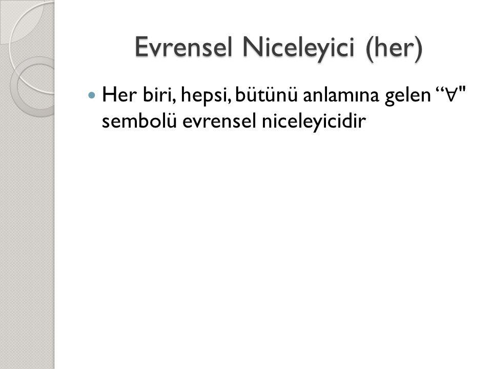 Evrensel Niceleyici (her)  Her biri, hepsi, bütünü anlamına gelen ∀ sembolü evrensel niceleyicidir