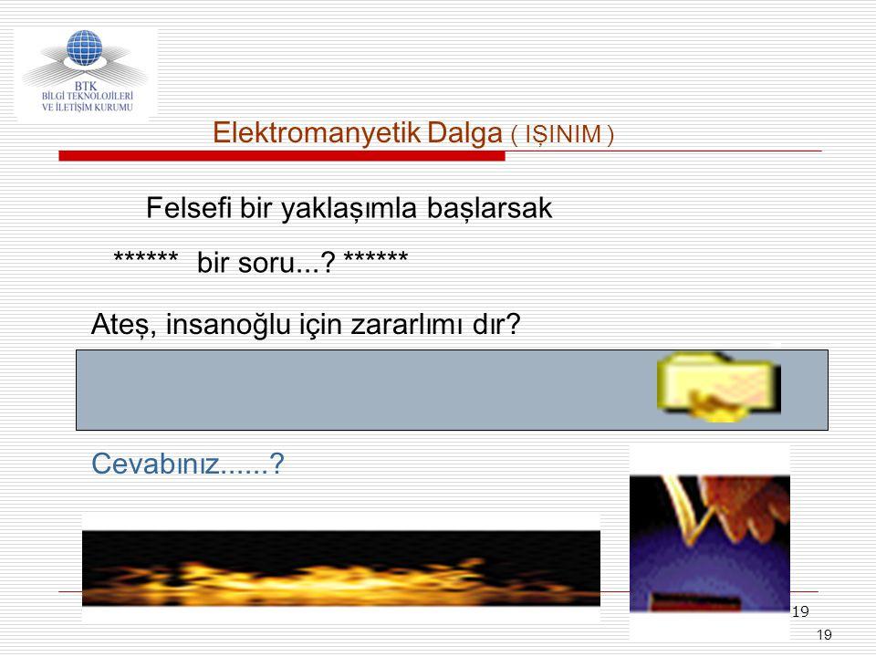 19 Ateş, insanoğlu için zararlımı dır? Cevabınız......? ****** bir soru...? ****** Elektromanyetik Dalga ( IŞINIM ) Felsefi bir yaklaşımla başlarsak