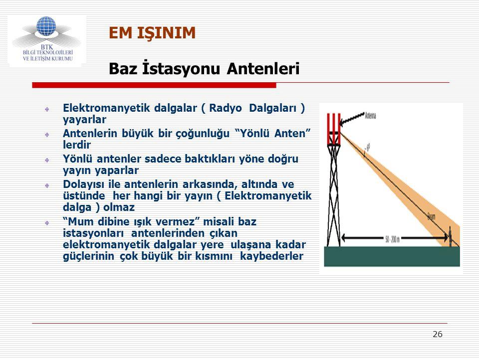 """26 Baz İstasyonu Antenleri EM IŞINIM Elektromanyetik dalgalar ( Radyo Dalgaları ) yayarlar Antenlerin büyük bir çoğunluğu """"Yönlü Anten"""" lerdir Yönlü a"""