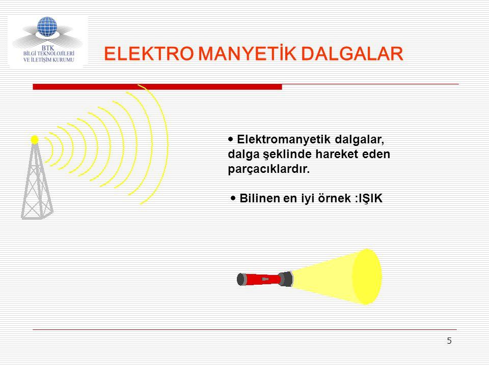 5  Elektromanyetik dalgalar, dalga şeklinde hareket eden parçacıklardır.  Bilinen en iyi örnek :IŞIK ELEKTRO MANYETİK DALGALAR