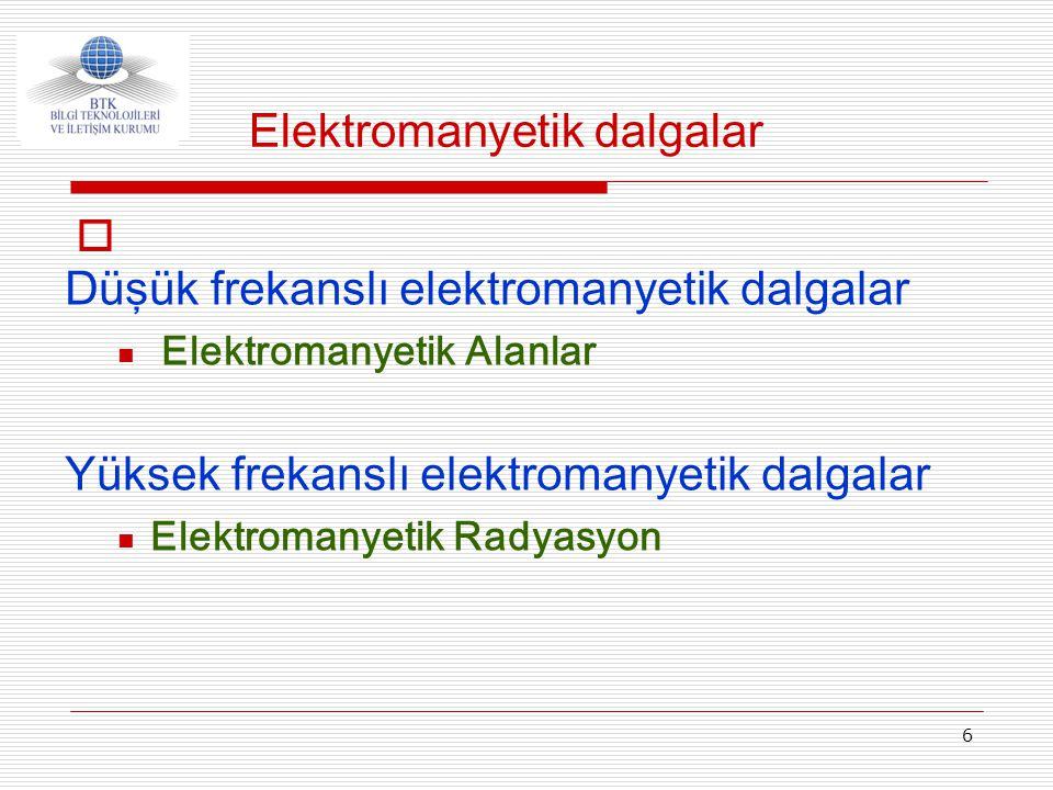 6  Düşük frekanslı elektromanyetik dalgalar  Elektromanyetik Alanlar Yüksek frekanslı elektromanyetik dalgalar  Elektromanyetik Radyasyon Elektroma