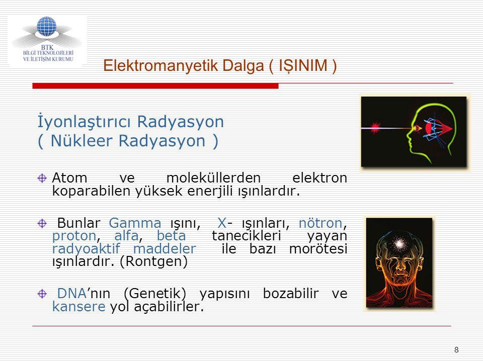 8 İyonlaştırıcı Radyasyon ( Nükleer Radyasyon ) Atom ve moleküllerden elektron koparabilen yüksek enerjili ışınlardır. Bunlar Gamma ışını, X- ışınları