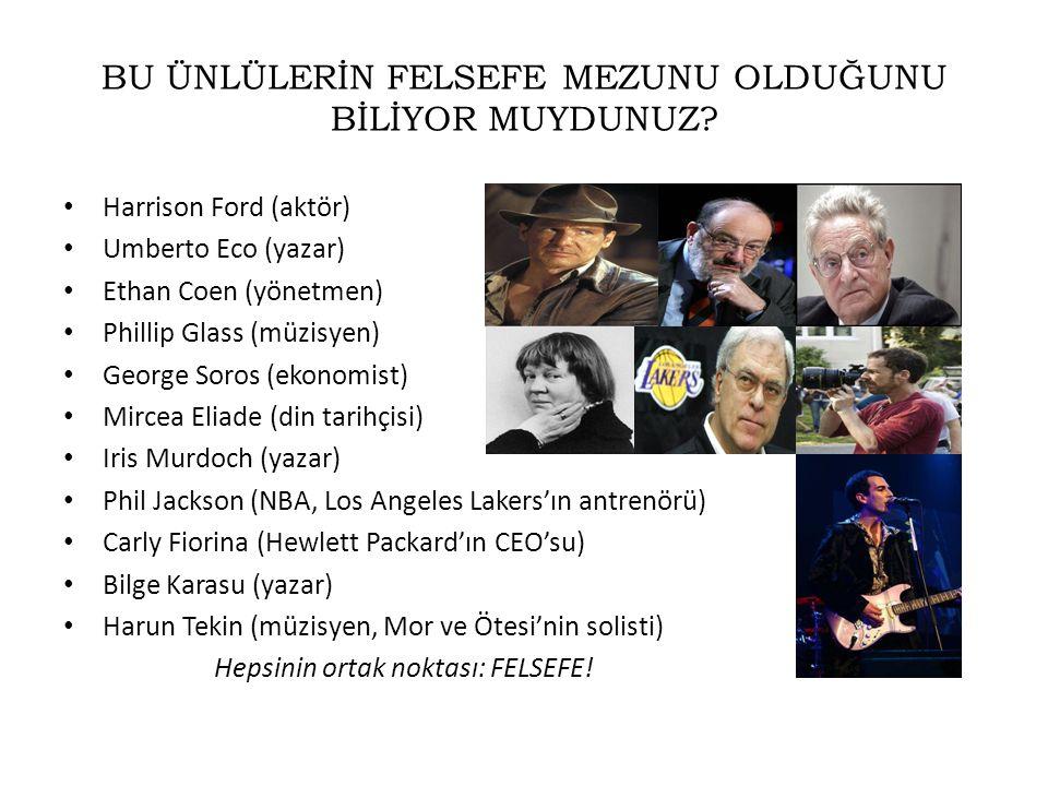 BU ÜNLÜLERİN FELSEFE MEZUNU OLDUĞUNU BİLİYOR MUYDUNUZ? • Harrison Ford (aktör) • Umberto Eco (yazar) • Ethan Coen (yönetmen) • Phillip Glass (müzisyen