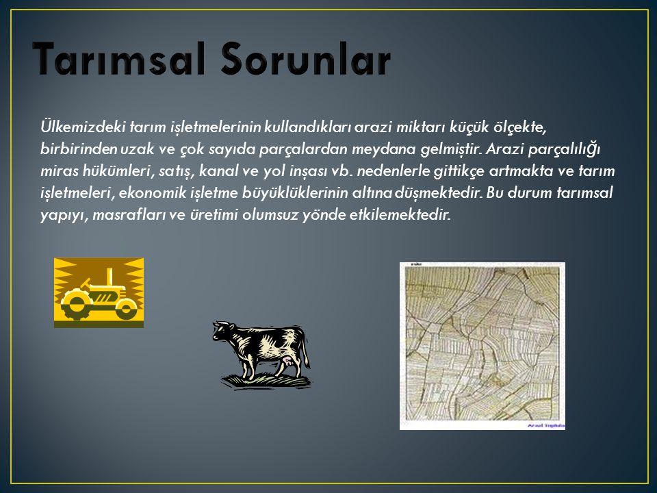 Ülkemizdeki tarım işletmelerinin kullandıkları arazi miktarı küçük ölçekte, birbirinden uzak ve çok sayıda parçalardan meydana gelmiştir.