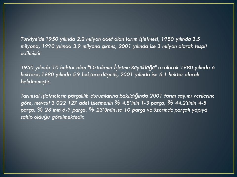 Türkiye'de 1950 yılında 2.2 milyon adet olan tarım işletmesi, 1980 yılında 3.5 milyona, 1990 yılında 3.9 milyona çıkmış, 2001 yılında ise 3 milyon ola