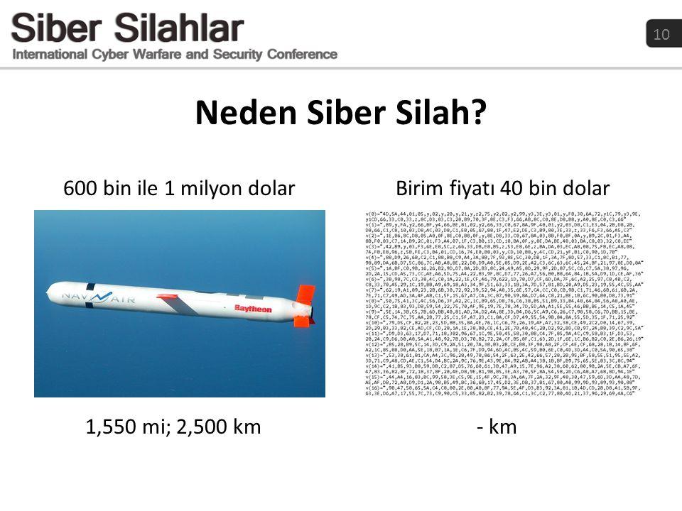 10 Neden Siber Silah? 600 bin ile 1 milyon dolar 1,550 mi; 2,500 km Birim fiyatı 40 bin dolar - km