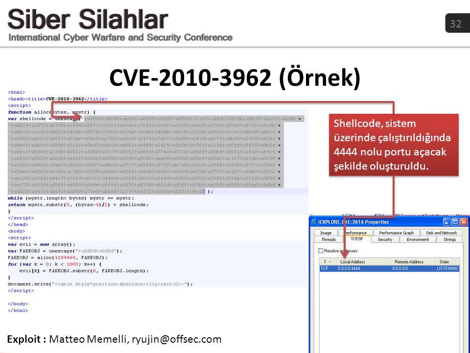32 CVE-2010-3962 (Örnek) Exploit : Matteo Memelli, ryujin@offsec.com Shellcode, sistem üzerinde çalıştırıldığında 4444 nolu portu açacak şekilde oluşt
