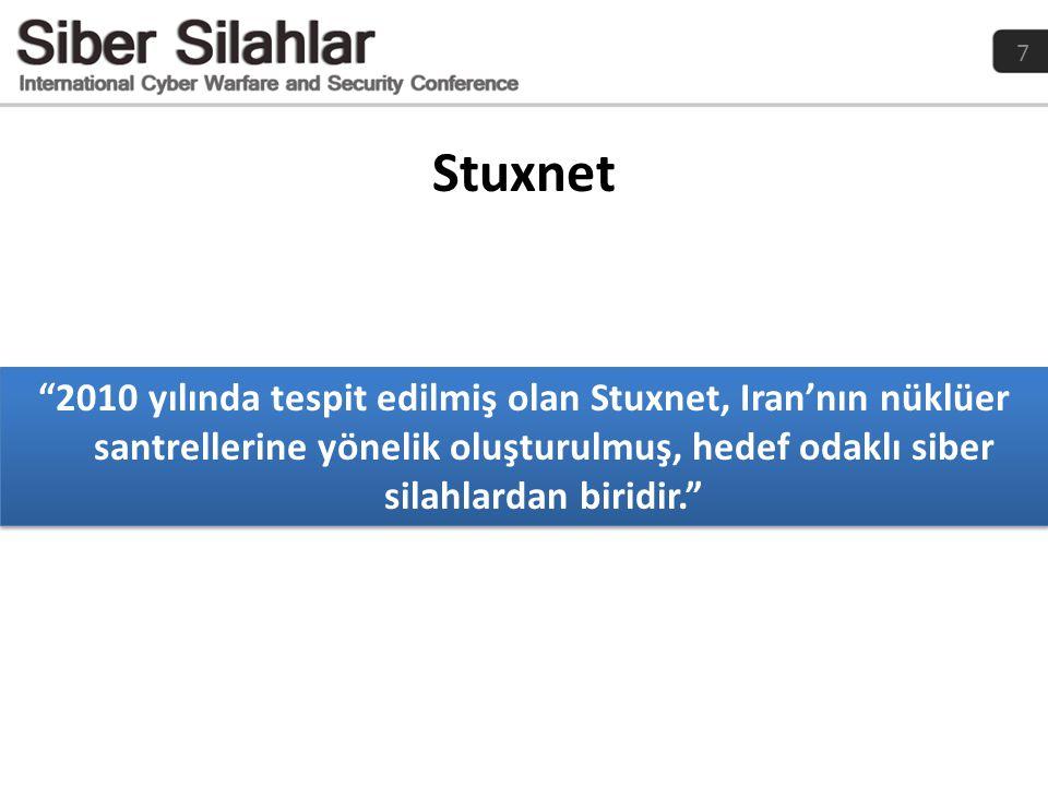 """7 Stuxnet """"2010 yılında tespit edilmiş olan Stuxnet, Iran'nın nüklüer santrellerine yönelik oluşturulmuş, hedef odaklı siber silahlardan biridir."""""""