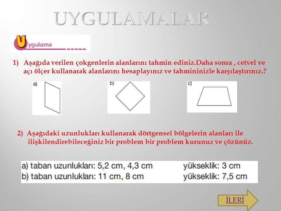 1)Aşağıda verilen çokgenlerin alanlarını tahmin ediniz.Daha sonra, cetvel ve açı ölçer kullanarak alanlarını hesaplayınız ve tahmininizle karşılaştırı