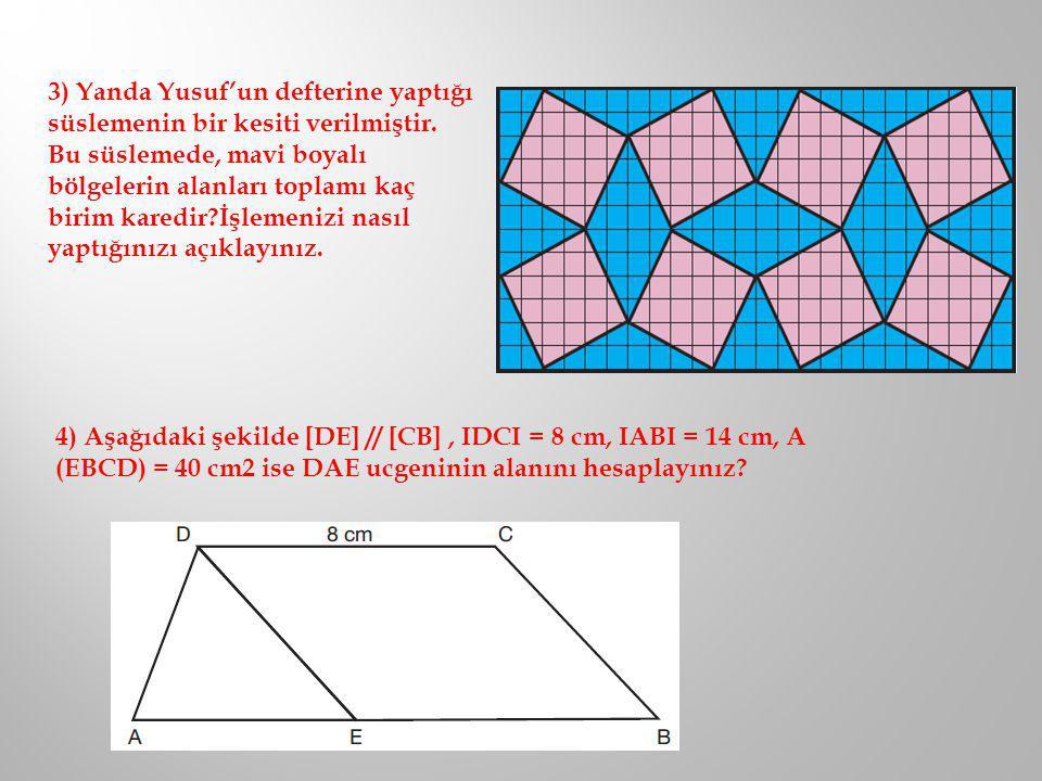 3) Yanda Yusuf'un defterine yaptığı süslemenin bir kesiti verilmiştir. Bu süslemede, mavi boyalı bölgelerin alanları toplamı kaç birim karedir?İşlemen