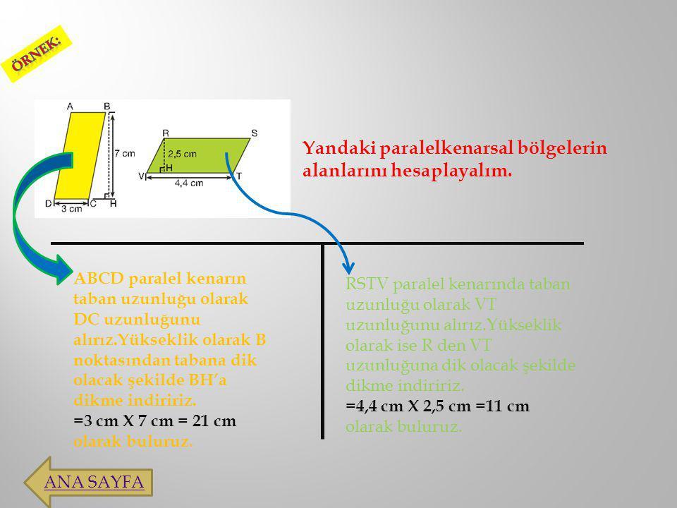 Eşkenar dörtgensel bölgenin alanı köşegen uzunluklarının çarpımının yarısına eşittir.