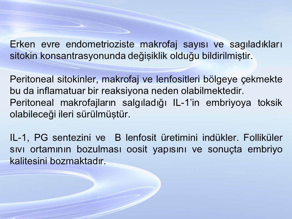 Erken evre endometrioziste makrofaj sayısı ve sagıladıkları sitokin konsantrasyonunda değişiklik olduğu bildirilmiştir. Peritoneal sitokinler, makrofa
