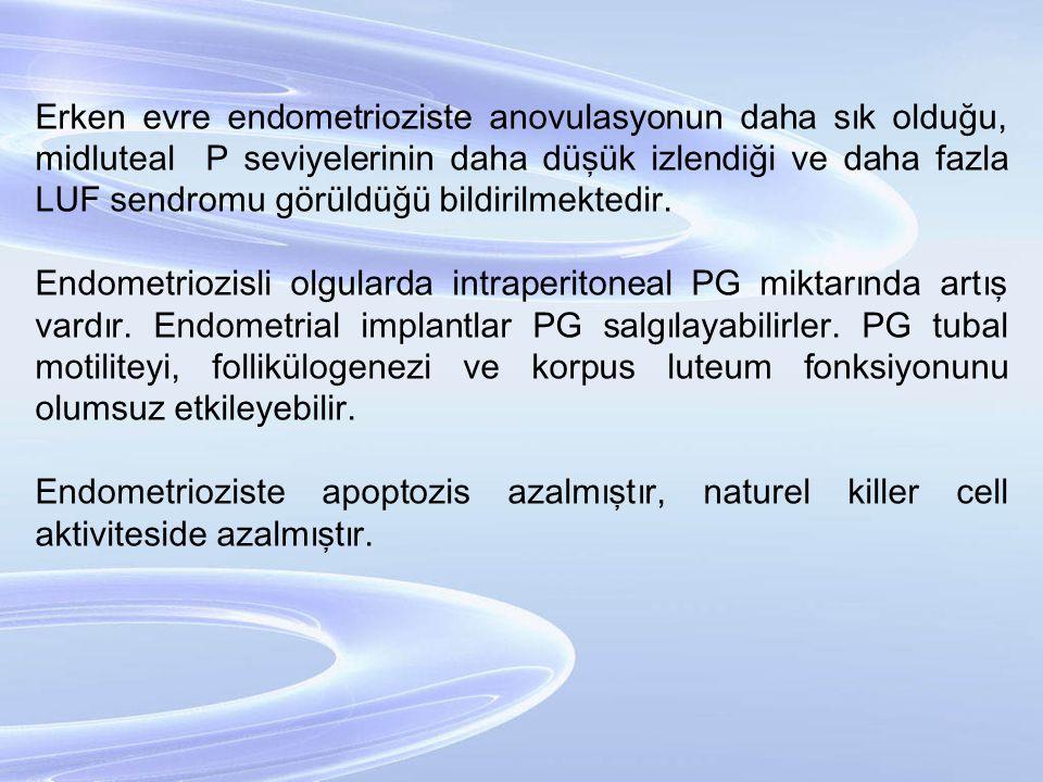 Erken evre endometrioziste anovulasyonun daha sık olduğu, midluteal P seviyelerinin daha düşük izlendiği ve daha fazla LUF sendromu görüldüğü bildiril