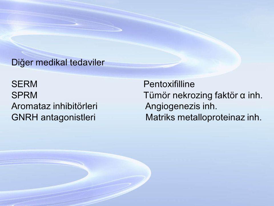 Diğer medikal tedaviler SERM Pentoxifilline SPRM Tümör nekrozing faktör α inh. Aromataz inhibitörleri Angiogenezis inh. GNRH antagonistleri Matriks me