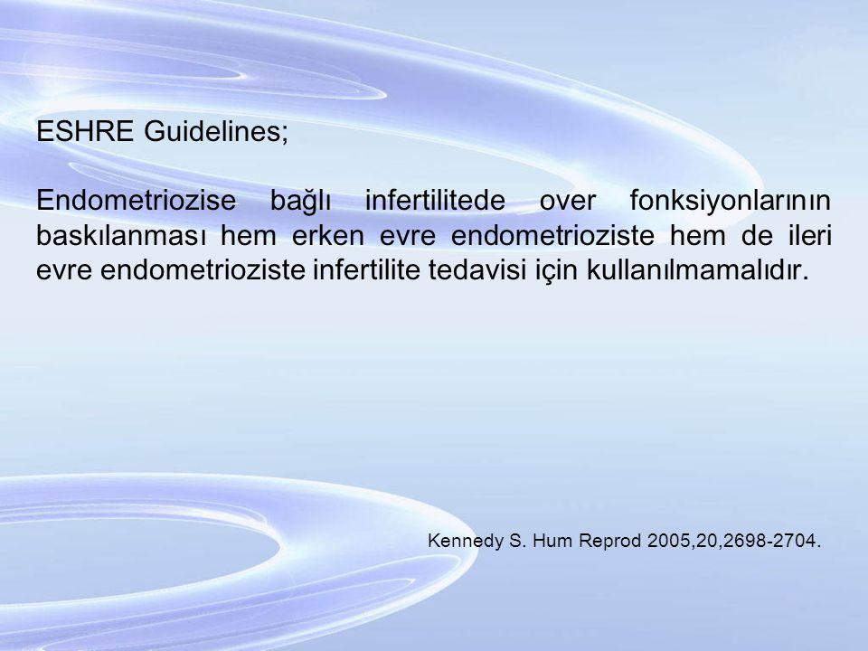 ESHRE Guidelines; Endometriozise bağlı infertilitede over fonksiyonlarının baskılanması hem erken evre endometrioziste hem de ileri evre endometriozis