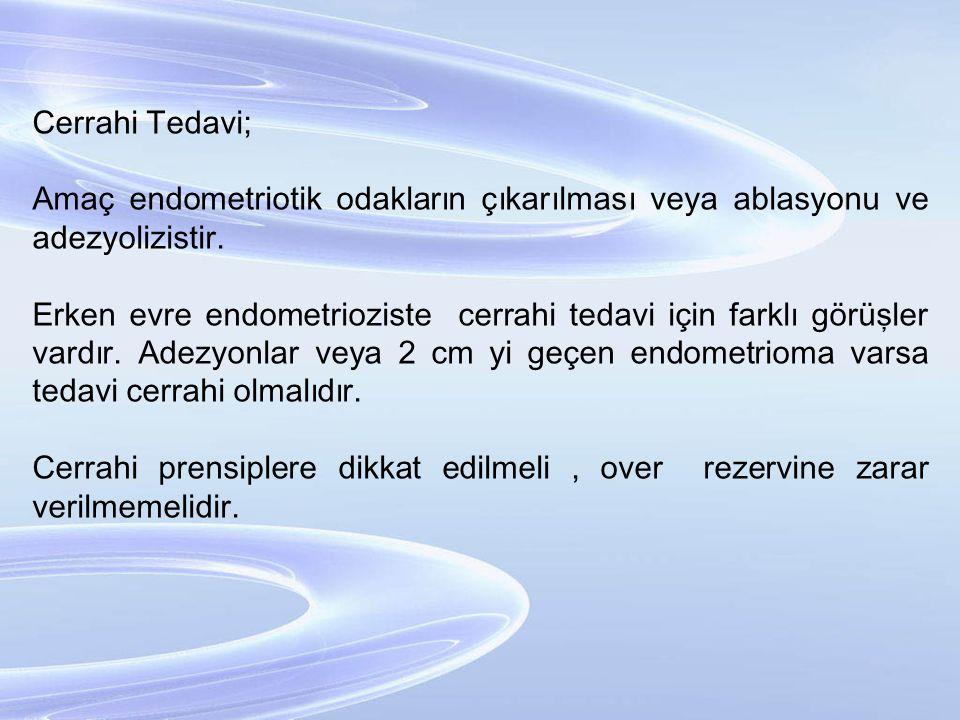 Cerrahi Tedavi; Amaç endometriotik odakların çıkarılması veya ablasyonu ve adezyolizistir. Erken evre endometrioziste cerrahi tedavi için farklı görüş