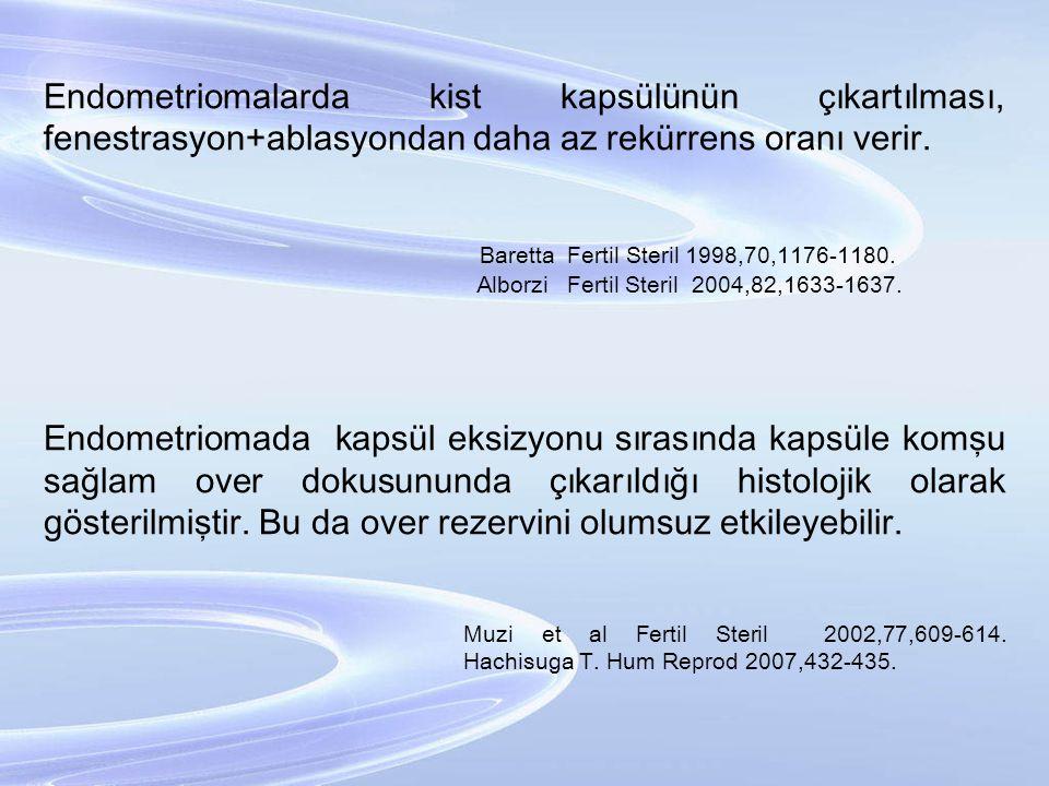 Endometriomalarda kist kapsülünün çıkartılması, fenestrasyon+ablasyondan daha az rekürrens oranı verir. Baretta Fertil Steril 1998,70,1176-1180. Albor
