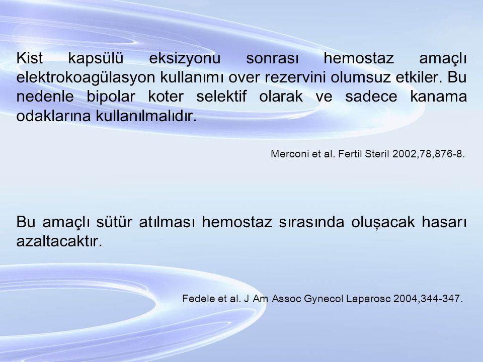 Kist kapsülü eksizyonu sonrası hemostaz amaçlı elektrokoagülasyon kullanımı over rezervini olumsuz etkiler. Bu nedenle bipolar koter selektif olarak v