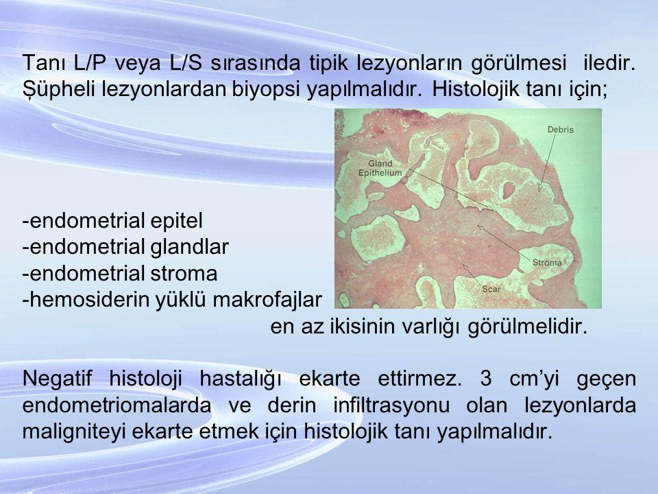 Tanı L/P veya L/S sırasında tipik lezyonların görülmesi iledir. Şüpheli lezyonlardan biyopsi yapılmalıdır. Histolojik tanı için; -endometrial epitel -