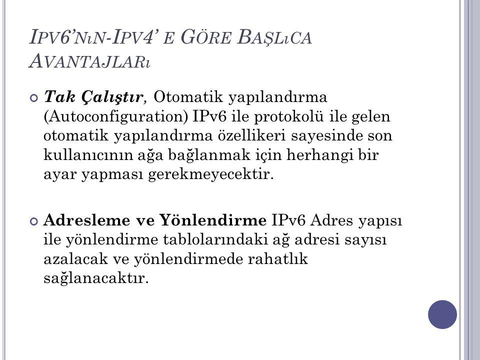 I PV 6' NıN -I PV 4' E G ÖRE B AŞLıCA A VANTAJLARı Tak Çalıştır, Otomatik yapılandırma (Autoconfiguration) IPv6 ile protokolü ile gelen otomatik yapıl