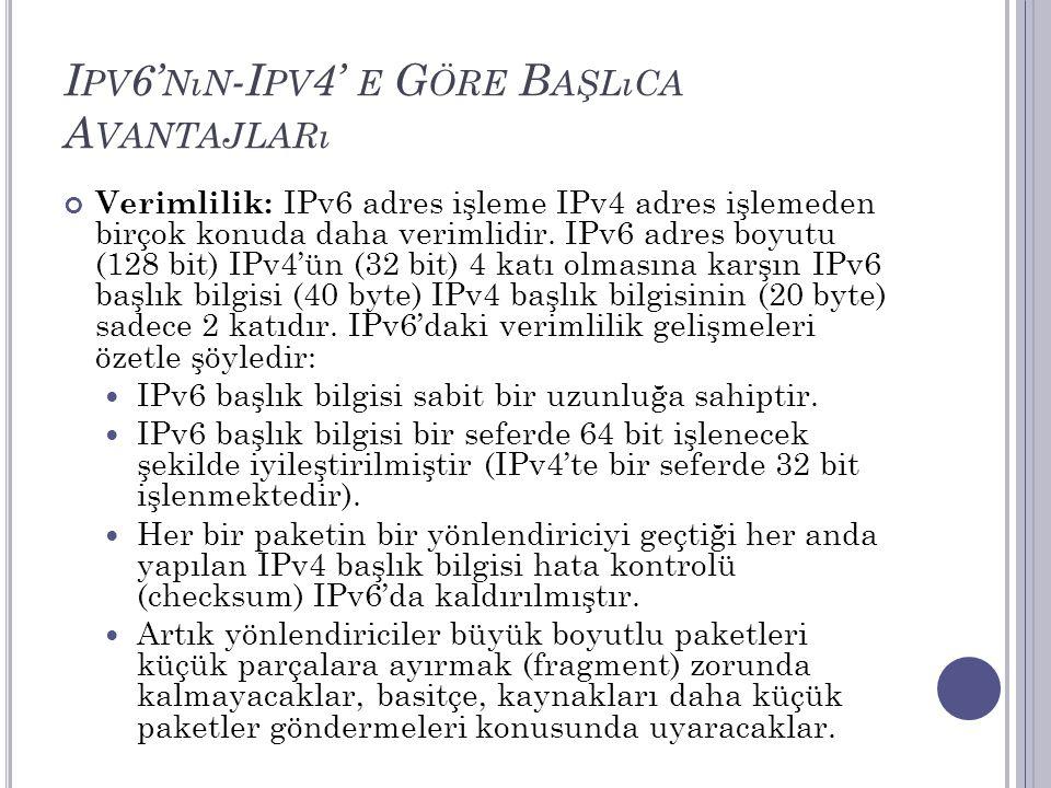 I PV 6' NıN -I PV 4' E G ÖRE B AŞLıCA A VANTAJLARı Verimlilik: IPv6 adres işleme IPv4 adres işlemeden birçok konuda daha verimlidir. IPv6 adres boyutu