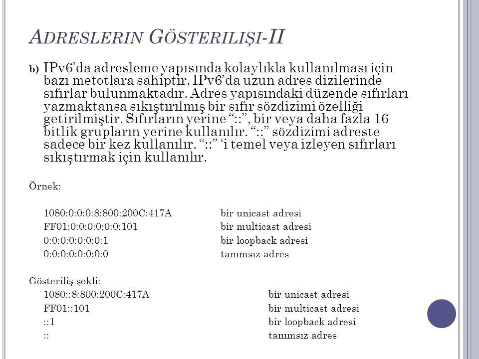 A DRESLERIN G ÖSTERILIŞI -II b) IPv6'da adresleme yapısında kolaylıkla kullanılması için bazı metotlara sahiptir. IPv6'da uzun adres dizilerinde sıfır