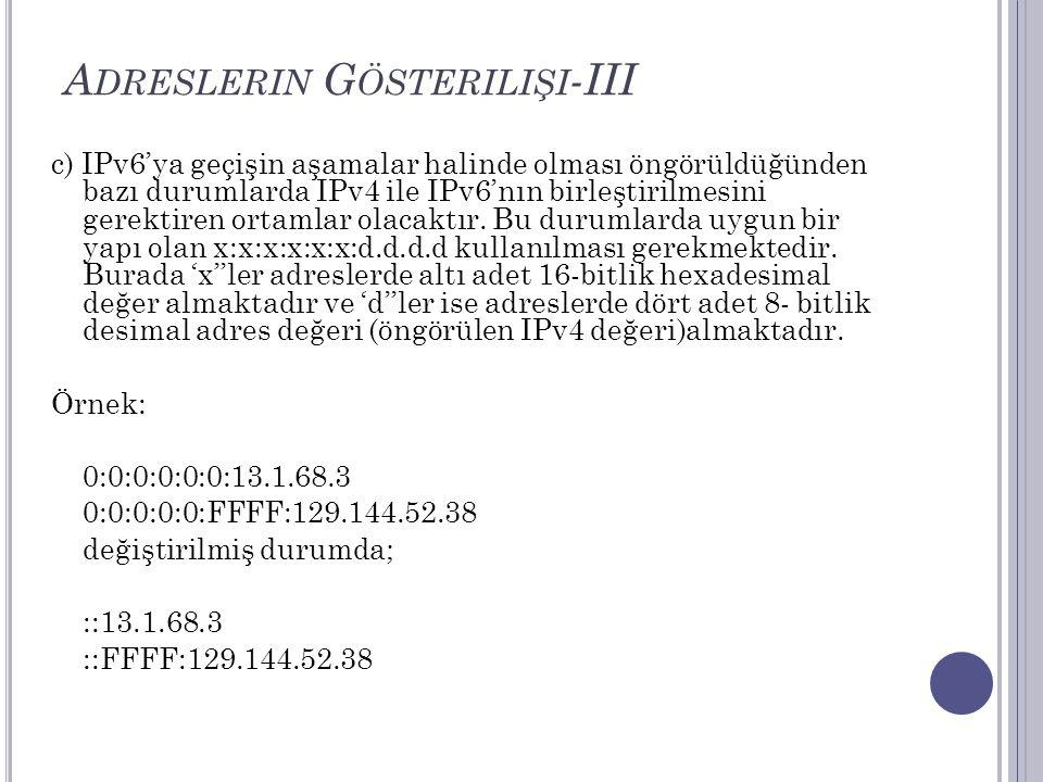 A DRESLERIN G ÖSTERILIŞI -III c) IPv6'ya geçişin aşamalar halinde olması öngörüldüğünden bazı durumlarda IPv4 ile IPv6'nın birleştirilmesini gerektire