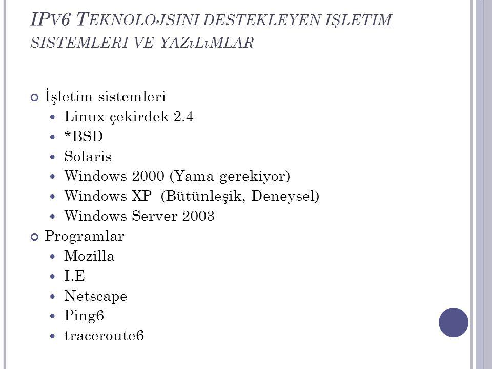 IP V 6 T EKNOLOJSINI DESTEKLEYEN IŞLETIM SISTEMLERI VE YAZıLıMLAR İşletim sistemleri  Linux çekirdek 2.4  *BSD  Solaris  Windows 2000 (Yama gereki