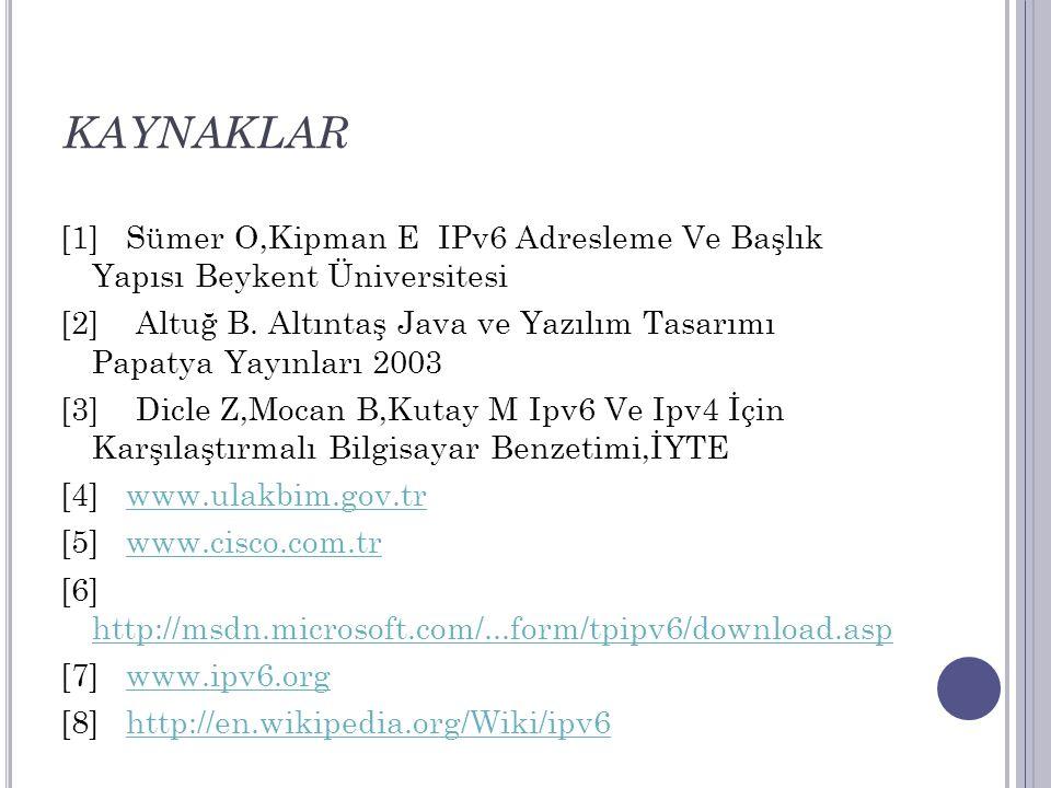 KAYNAKLAR [1] Sümer O,Kipman E IPv6 Adresleme Ve Başlık Yapısı Beykent Üniversitesi [2] Altuğ B. Altıntaş Java ve Yazılım Tasarımı Papatya Yayınları 2