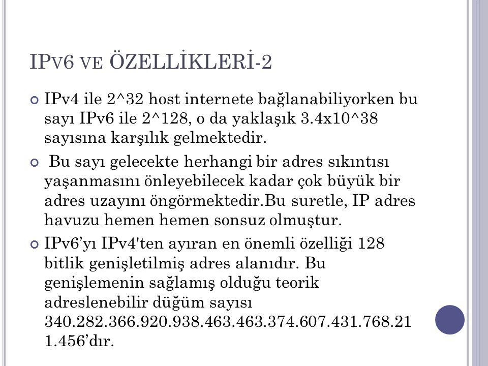 IP V 6 VE ÖZELLİKLERİ-2 IPv4 ile 2^32 host internete bağlanabiliyorken bu sayı IPv6 ile 2^128, o da yaklaşık 3.4x10^38 sayısına karşılık gelmektedir.