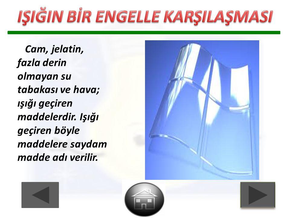 Cam, jelatin, fazla derin olmayan su tabakası ve hava; ışığı geçiren maddelerdir. Işığı geçiren böyle maddelere saydam madde adı verilir.