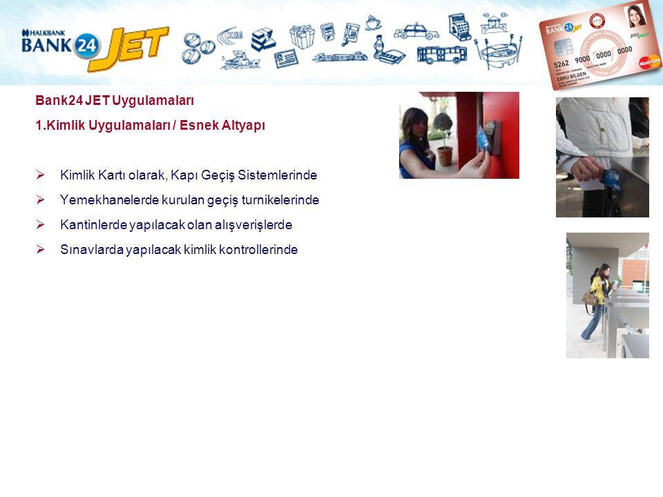 Bank24 JET Uygulamaları 1.Kimlik Uygulamaları / Esnek Altyapı  Kimlik Kartı olarak, Kapı Geçiş Sistemlerinde  Yemekhanelerde kurulan geçiş turnikele