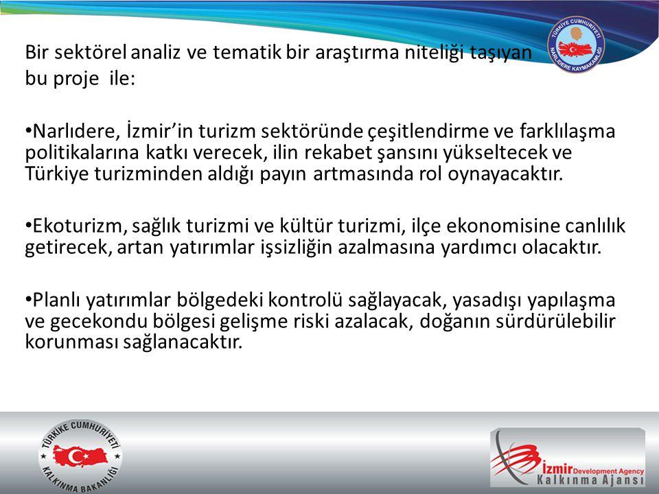 Bir sektörel analiz ve tematik bir araştırma niteliği taşıyan bu proje ile: • Narlıdere, İzmir'in turizm sektöründe çeşitlendirme ve farklılaşma polit