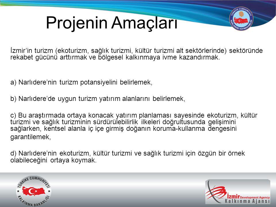 Projenin Amaçları İzmir'in turizm (ekoturizm, sağlık turizmi, kültür turizmi alt sektörlerinde) sektöründe rekabet gücünü arttırmak ve bölgesel kalkın