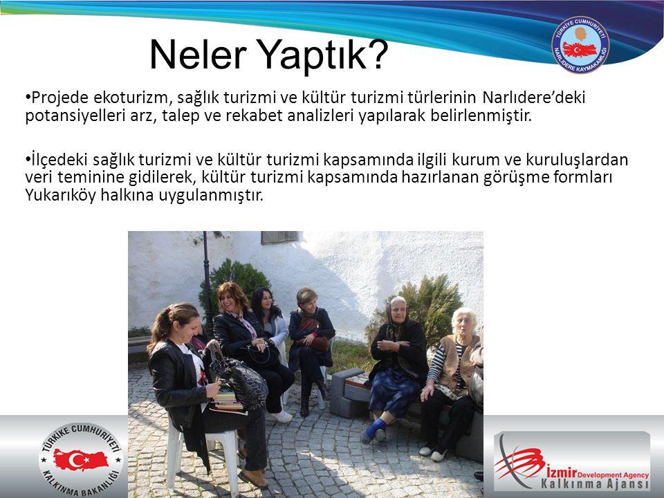Bir sektörel analiz ve tematik bir araştırma niteliği taşıyan bu proje ile: • Narlıdere, İzmir'in turizm sektöründe çeşitlendirme ve farklılaşma politikalarına katkı verecek, ilin rekabet şansını yükseltecek ve Türkiye turizminden aldığı payın artmasında rol oynayacaktır.