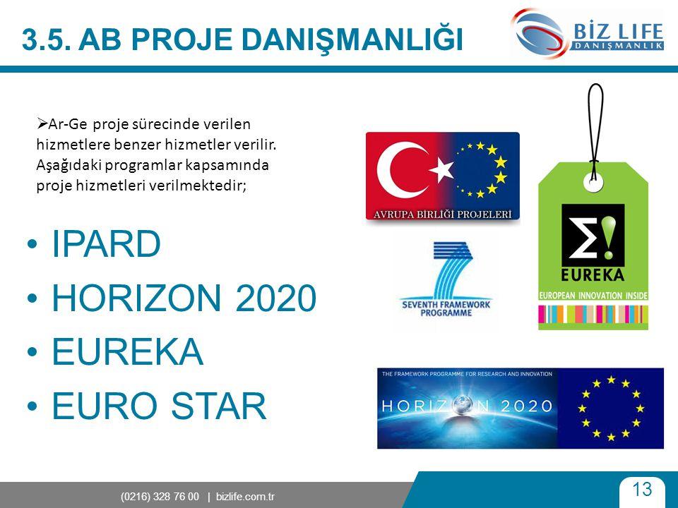 13 (0216) 328 76 00 | bizlife.com.tr 3.5. AB PROJE DANIŞMANLIĞI •IPARD •HORIZON 2020 •EUREKA •EURO STAR  Ar-Ge proje sürecinde verilen hizmetlere ben