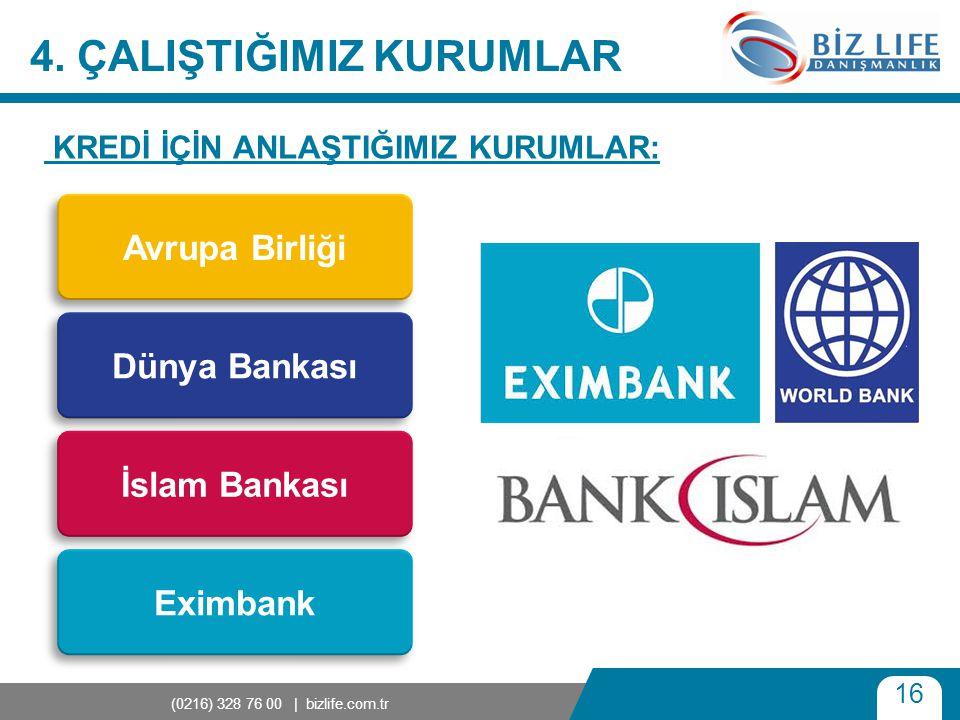 16 (0216) 328 76 00 | bizlife.com.tr 4. ÇALIŞTIĞIMIZ KURUMLAR KREDİ İÇİN ANLAŞTIĞIMIZ KURUMLAR: Avrupa Birliği Dünya Bankası İslam Bankası Eximbank