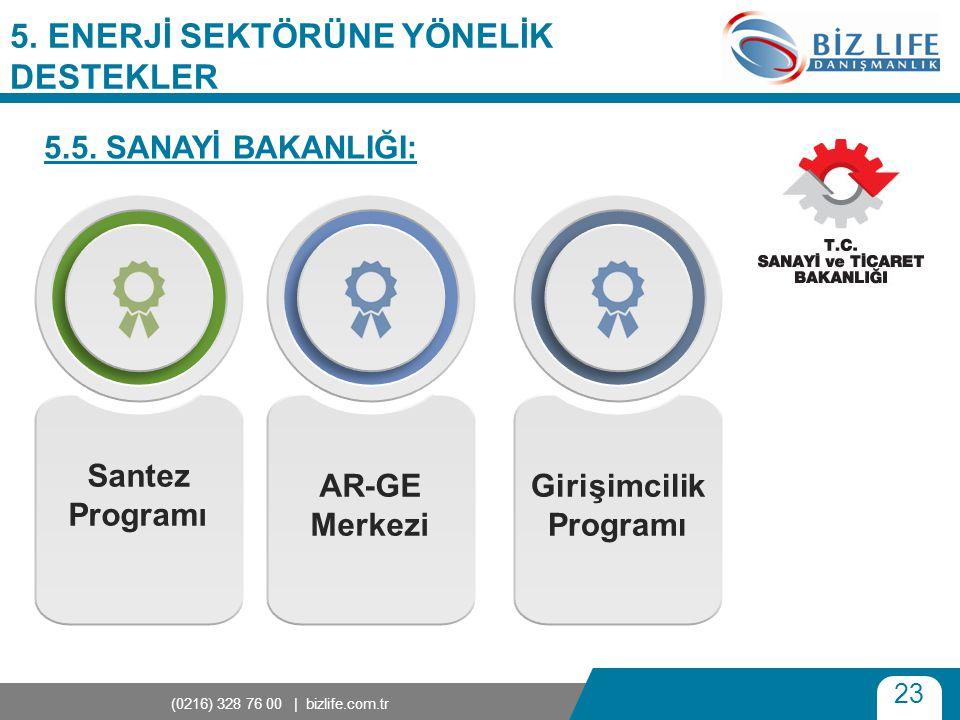 23 (0216) 328 76 00 | bizlife.com.tr 5. ENERJİ SEKTÖRÜNE YÖNELİK DESTEKLER 5.5. SANAYİ BAKANLIĞI: Santez Programı AR-GE Merkezi Girişimcilik Programı