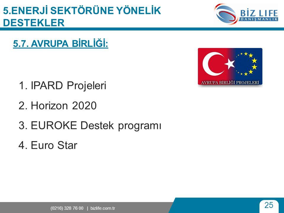 25 (0216) 328 76 00 | bizlife.com.tr 5.ENERJİ SEKTÖRÜNE YÖNELİK DESTEKLER 1. IPARD Projeleri 2. Horizon 2020 3. EUROKE Destek programı 4. Euro Star 5.