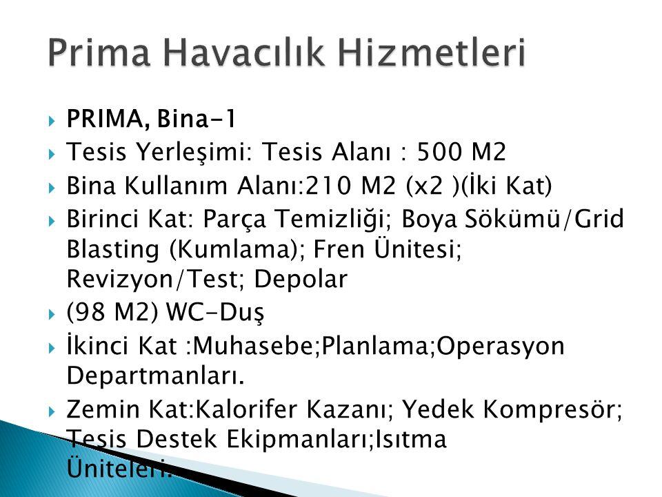  PRIMA, Bina-1  Tesis Yerleşimi: Tesis Alanı : 500 M2  Bina Kullanım Alanı:210 M2 (x2 )(İki Kat)  Birinci Kat: Parça Temizliği; Boya Sökümü/Grid B